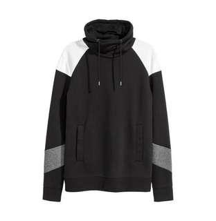 HnM Sweatshirt Chimney Collar Black Grey White