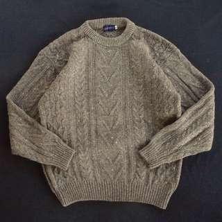 🚚 🇮🇪70s愛爾蘭手織漁夫毛衣 駝色 羔羊毛 麻花針織衫 男女皆可Vintage 歐美古著