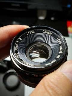 Canon 35mm f2 LTM L39 Leica Thread Mount