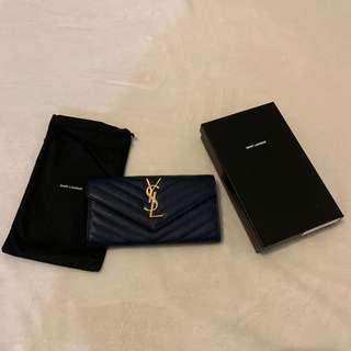 YSL grain de poudre leather wallet in Navy