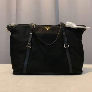 Prada Tessuto+Saffiano in Nero (Large) w  cross body strap 57e14991d96b4
