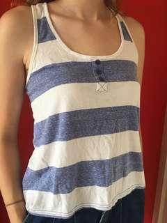 White and blue striped racer back tank top