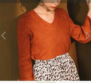 V領寬袖針織毛衣