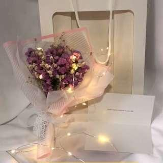 🌹「Exclusive Lover」Valentine's Day Special💖Babysbreath Dried Flower Lighting Bouquet➕paper bag✨Limited Edition