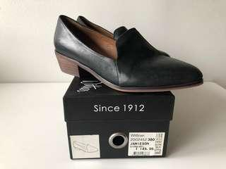 Black leather slip in work shoes