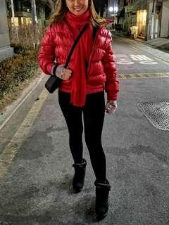 Winter Red Bubble Coat Jacket With Fur