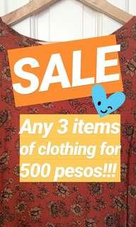 SALE!!! 3 for 500!!!