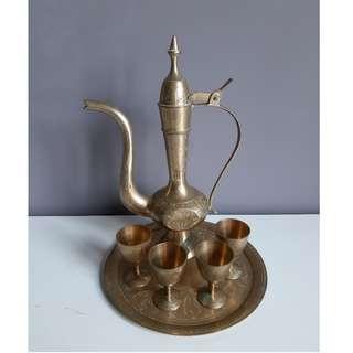 Vintage Brass Tea Set - Large