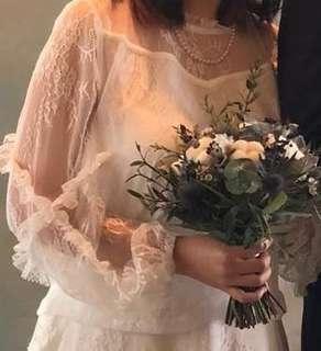 mi-tu喱士上衣(原價$1090) 蕾絲 輕婚紗 wedding dress bridal gown 兩件 two piece 微胖女 顯瘦 中大碼