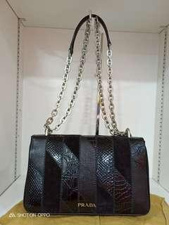 9a44c9ea06d3 Authentic Brand New Prada Limited Edition calf mix snake skin flap bag
