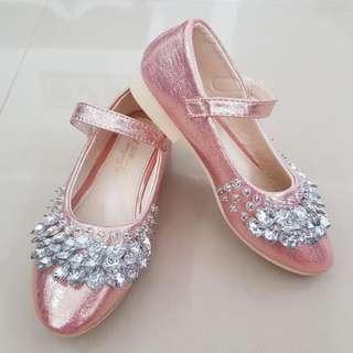 Mary Jane Shoes Girls Slip On Pink Shiny CNY Shoes
