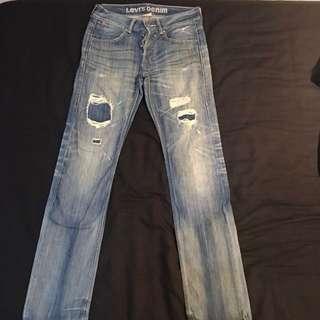 Levi's 522 slim straight denim 合身破壞 牛仔褲 重磅 W31 L34 破褲 pants
