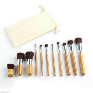 11 pcs bamboo make up brush with pouch