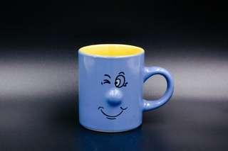 """""""德國Siaki 俏皮面孔淡藍濃縮咖啡/莫卡咖啡杯  ﹙高6.5cm,杯口直徑5.5cm﹚"""