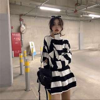 PO: Oversized Striped Sweater Dress