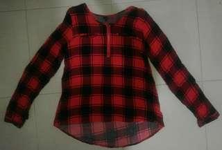 Red Checkered Long Sleeve Blouse