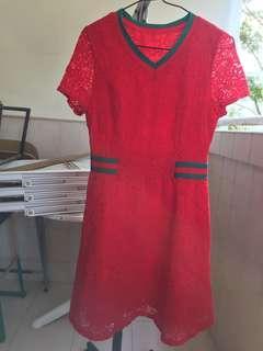 🚚 Festive Good-Quality Red Lace A-Line Dress