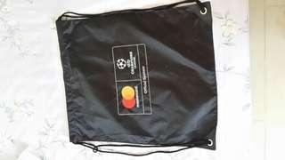🚚 Limited edition UEFA champions league Masrercard black drawstring bag