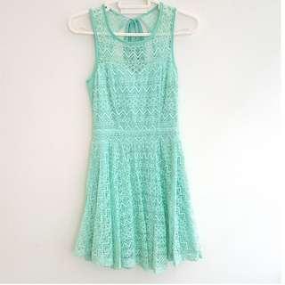 Sleeveless Mint Lace Dress