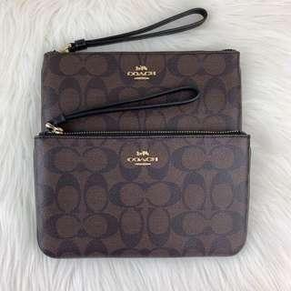 Coach Large Wristlet in Signature Black Brown