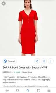 VDay SALE!!! Zara Ribbed Dress with buttons