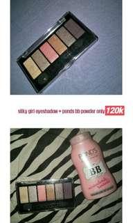 Silky girl eyeshadow + ponds bb powder