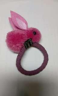 🚚 超可愛粉紅色小兔髮圈