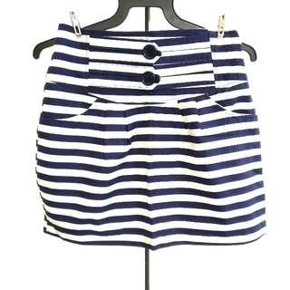 BN Navy And White Stripe Skirt