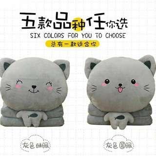 🚚 貓咪暖手抱枕兩用被子毛絨娃娃