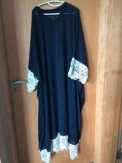 🚚 Navy Blue and White Large Lace Kaftan