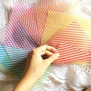 Papier (Set #52) - Translucent Striped Set Of Wax Papers.