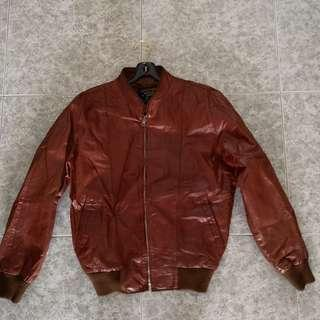 Vintage Brown Leather Retro Jacket