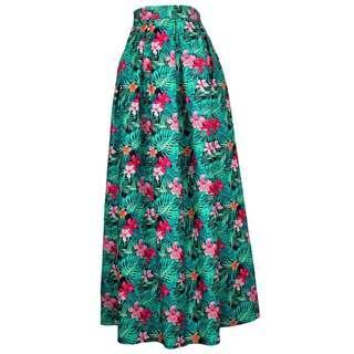Hawaiian Maxi Skirt in Green (Clearance Sales)
