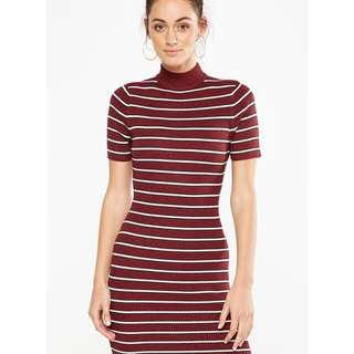 Cotton On Bodycon Dress in Red and White Stripes