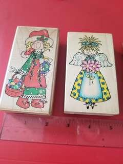 (Embossing Arts Co.) 木印章 Stamps 兩個(送三個英文字印章)