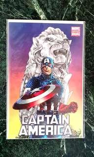Cap America 1 Merlion Variant VHTF cover by Harvey Tolibao