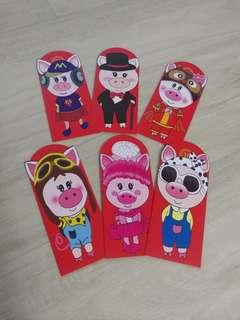 (18.8 x 8.9 CM) LARGE N THICK PIGGY RED PACKETS - COOL PIGGY DESIGNS - 1 pack of 6@ $4.50 only!!!