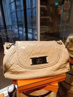 Chanel Accordion beige medium Calfskin shw#12