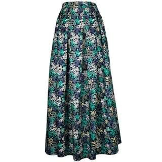 Corals Maxi Skirt in Black and Turquoise
