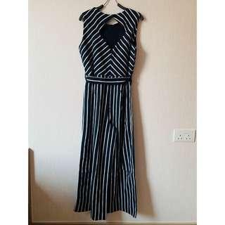 (購自西班牙) 無袖連身褲 黑白間 Black & White Strips Sleeveless Jumpsuit