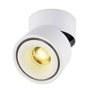 Adjustable LED Ceiling 360 Degree Downlight 10W Surface Mounted COB Lighting LED/3000K/ 10X10CM (White)