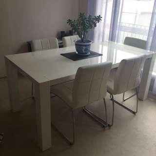 White Dining Table with White Leather Seats / Dining Set