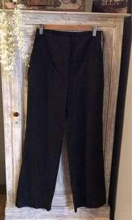 (Used) BRANDED Mango Black/Striped High-Waist Wide Leg Slacks