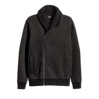 HnM Sweatershirt Shawl Collar Zipper Black
