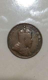 1905. 1/4 cents Straits Settlements coins