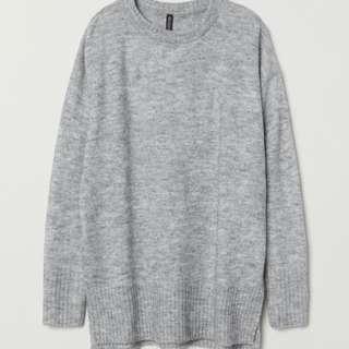 H&m grey sweater 灰色長版毛衣