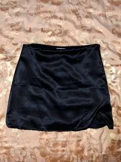 Satin Skirt with Slit - Black