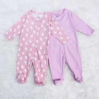 Baju bayi / Sleepsuit Rabbit Pink