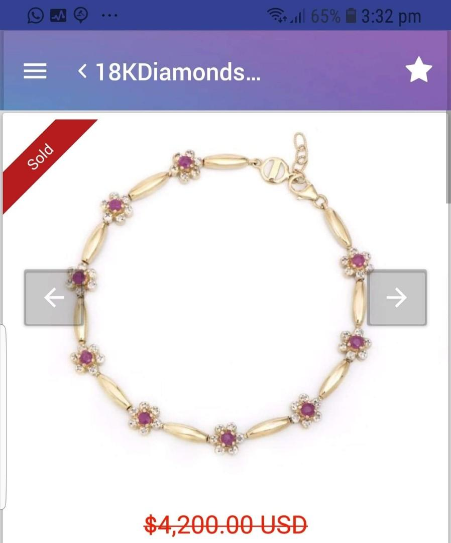 18k gold bracelet with 0.78ctw of 100%natural diamonds and 7.580ctw 0f natural ruby. Valued at $6000