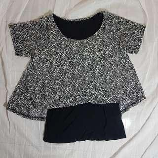 Crop Top floral black and white